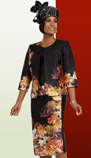 Ben Marc 48084 ( 3pc Silk Womens Church Suit With Flower Print On Jacket, Cami And Skirt )