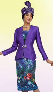 Ben Marc 48087 ( 3pc Silk Floral Print With Laser Cut Cami And Skirt With Solid Jacket, Womens Suit For Church )