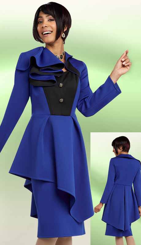 Ben Marc 48089 ( 2 pc Scuba Knit Ladies Suit For Church With Asymmetric Pleated Peplum, Large Ruffle Collar jacket And Skirt )