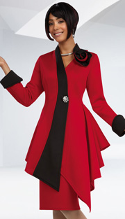 Ben Marc 48094 ( 2pc Scuba Knit Ladies Church Suit With Asymmetric Jacket And Large Rose-Shaped Shoulder Embellishment And Skirt )