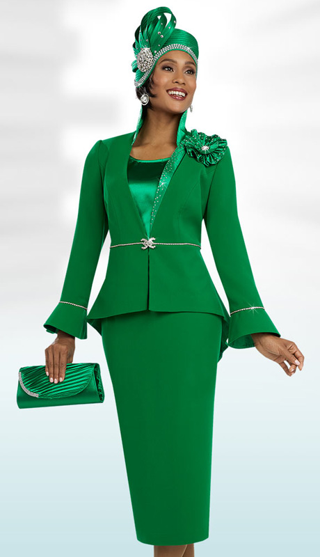 Ben Marc 48097 ( 3pc Microfiber Ladies Church Suit, With Rhinestone Trim, Flounce Sleeve Jacket, Skirt And Cami )