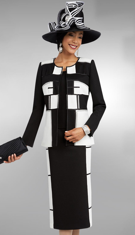 Ben Marc 48098 ( 3pc Pique Womens Church Suit With Geometric Design Jacket, Skirt And Cami )