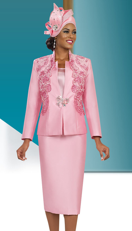 Ben Marc 48028 ( 3pc Exclusive Satin Ben Marc Designer Sunday Suit With Elaborate Applique Jacket)