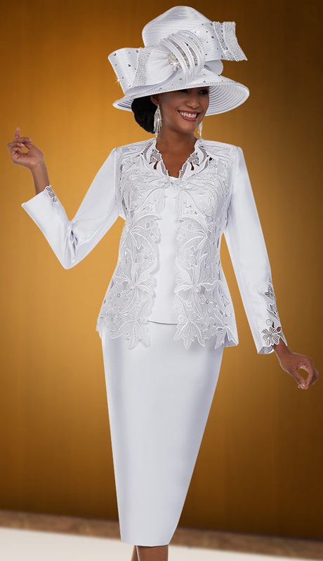 Ben Marc 48108 ( 3pc Silky Twill Fabric Womens Church Skirt Suit With Floral Cut-Out Design )