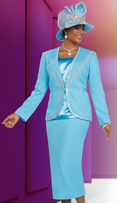 Ben Marc 48117 ( 3pc Pique Fabric Womens Church Suit With Embellished Trim Design )