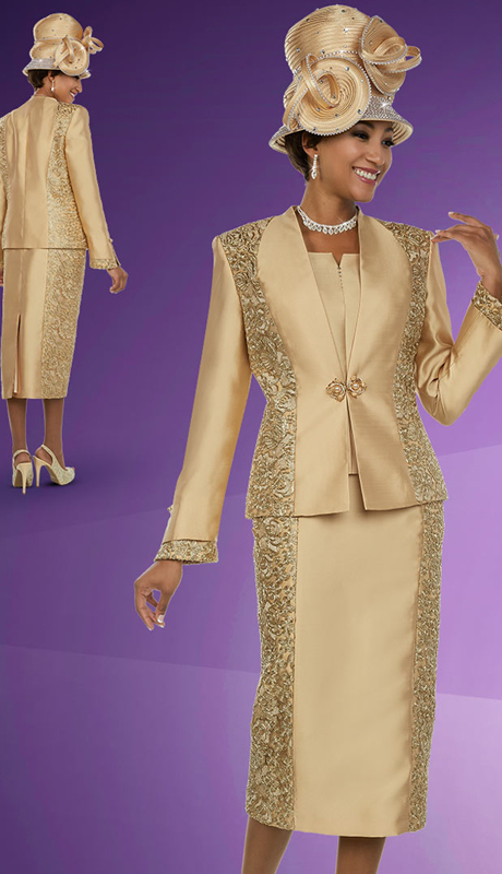 Ben Marc 48113 ( 3pc Silky Twill Fabric Womens Skirt Suit With Brocade & Solid Panel Design )