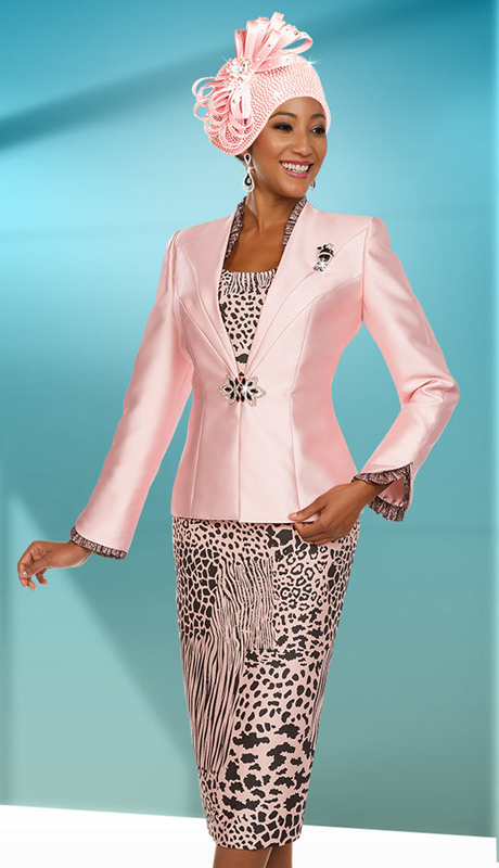 Ben Marc 48111 ( 3pc Silky Twill Fabric Womens Skirt Suit With Animal Print )