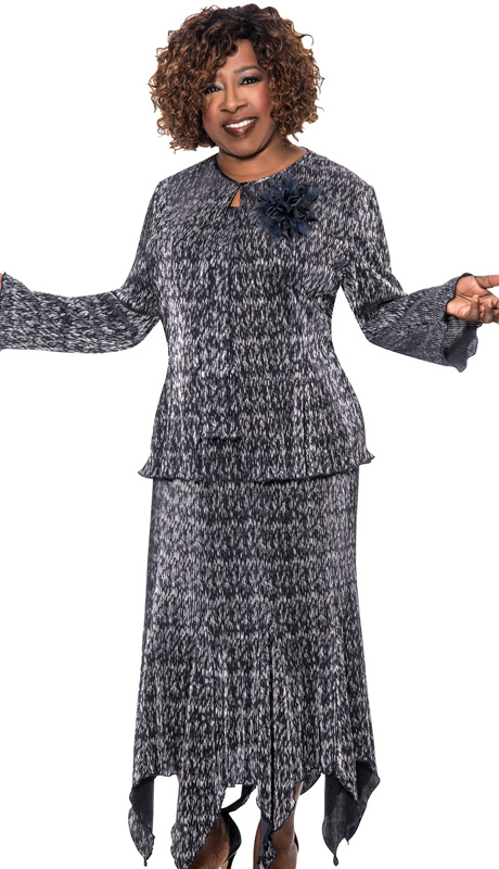 Beverly Crawford 1033-NA-IH ( 3pc Novelty Womens Church Suit With Accordion Pleated, Tonal Pattern Jacket And Flower Brooch, Cami And Skirt )