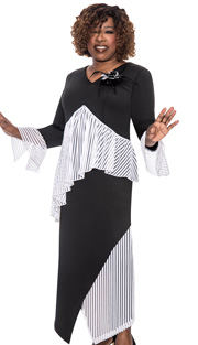 Beverly Crawford 1042-IH ( 2pc Silk Look With Striped Organza, Flower And Feather Brooch And Asymetrical Top And Skirt )