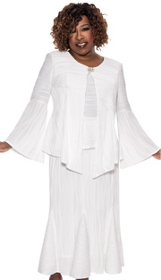 Beverly Crawford 1073-WH-IH ( 3pc Novelty Womens Church Suit With Wavy Line Pattern, Handkerchief Top, Pearl Embellished Clasp, Cami, And Pleated Skirt )