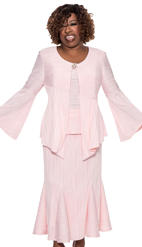 Beverly Crawford 1073-PK-IH ( 3pc Novelty Womens Church Suit With Wavy Line Pattern, Handkerchief Top, Pearl Embellished Clasp, Cami, And Pleated Skirt )