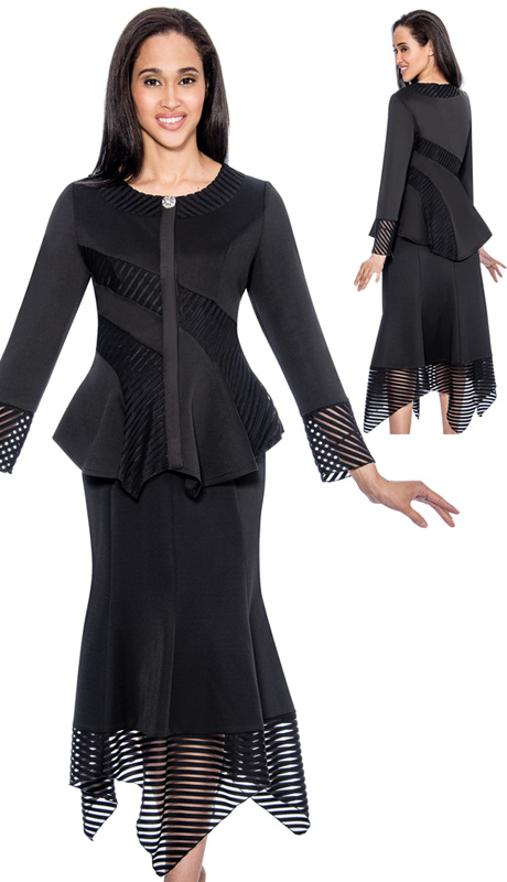 Beverly Crawford 1162-BLK ( 2pc Novelty Womens Church Suit, With Scoopneck And Sheer Stripe Inserts, Handkerchief Hem And Rhinestone Button On Jacket, Flare Skirt With Handkerchief Hem )