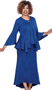 Beverly Crawford 1233 ( 3pc Novelty Womens Suit For Church With Cascading Hem, Bell Sleeve, Cami And High Low Skirt )