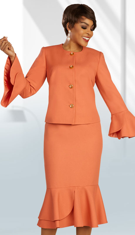 Ben Marc Executive 11892-SA ( 2pc Womens Church And Career Suit With Flared Tulip Sleeves )