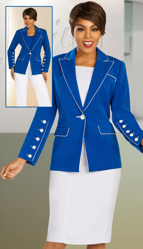Ben Marc Executive 11888-RW ( 3pc Womens Church And Career Wardrober With Reversible White/Navy Dickie )