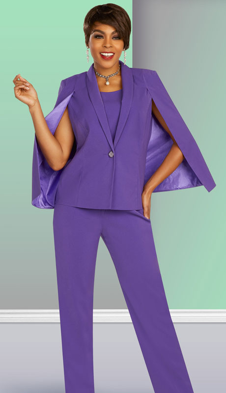 Ben Marc Executive 11887-PA ( 3pc Womens Church And Career Pant Suit With Cape Jacket )