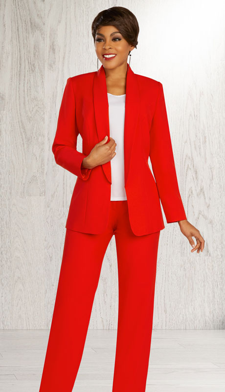 Ben Marc Executive 11887-RE ( 3pc Womens Church And Career Pant Suit With Shawl Collar Jacket )