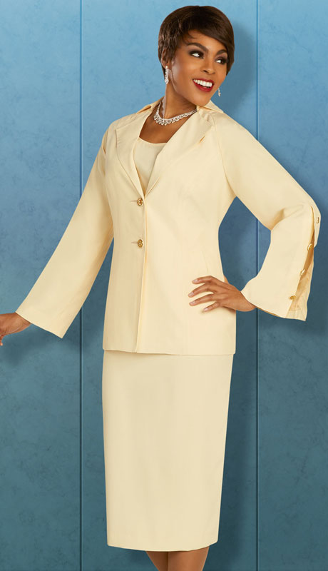 Ben Marc Executive 11885-YE ( 3pc Womens Church And Career Skirt Suit With Trench Coat Lapels And Slit Button Sleeves )
