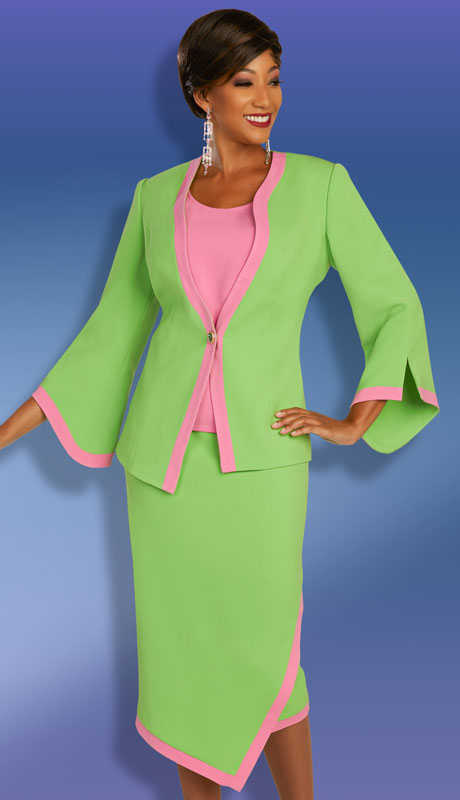 Ben Marc Executive 11882-LP ( 3pc Womens Church And Career Skirt Suit With Contrast Trim )