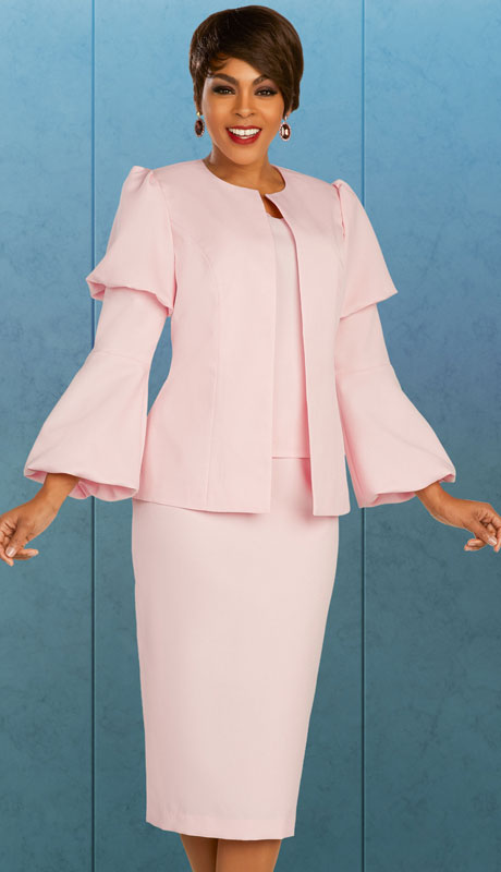 Ben Marc Executive 11881-PI ( 3pc Womens Church And Career Skirt Suit With Puff Sleeves )