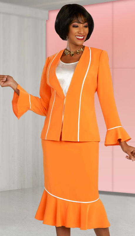 Ben Marc Executive 11880-TO ( 3pc Womens Church And Career Skirt Suit With Contrast Trim )