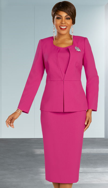 Ben Marc Executive 11878-FU ( 3pc Womens Church And Career Skirt Suit With Jewel Brooch )