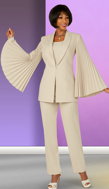 Ben Marc Executive 11875-SA ( 3pc Womens Church And Career Pant Suit With Pleated Bell Sleeves )