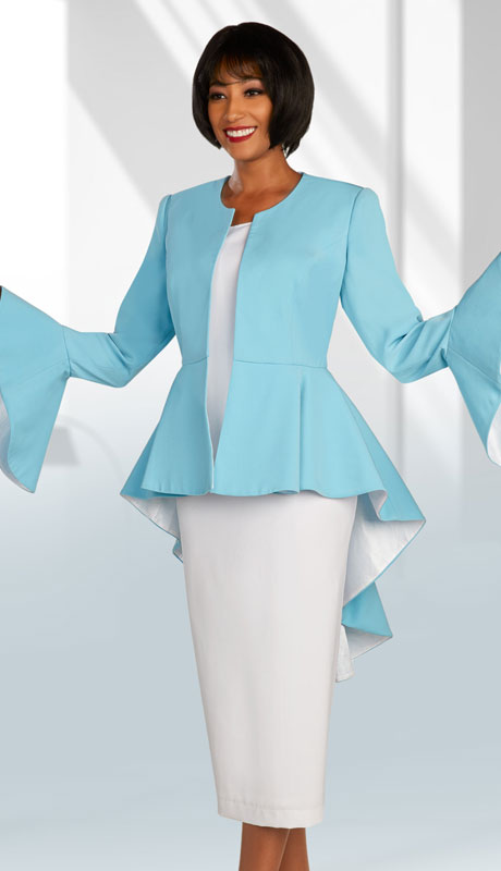 Ben Marc Executive 11874-SW ( 3pc Womens Church And Career Skirt Suit With Peplum High-Low Jacket With Bell Sleeves )