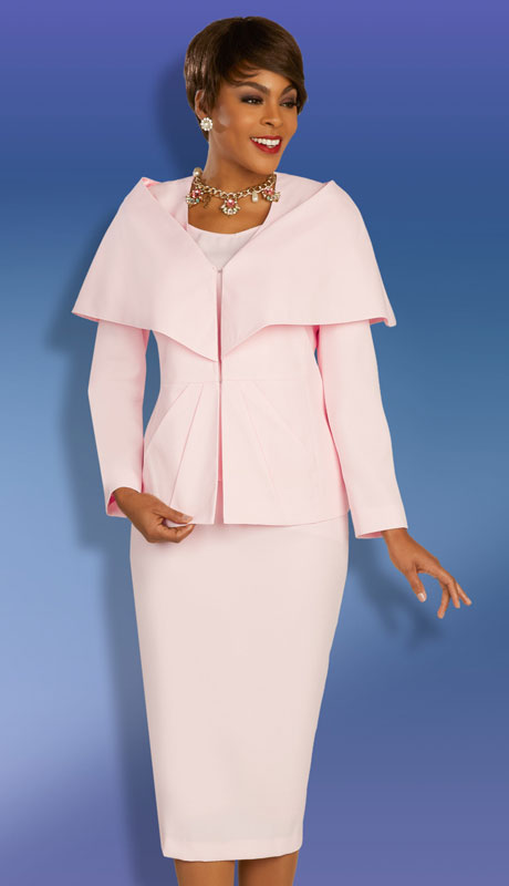 Ben Marc Executive 11873-PI ( 3pc Womens Church And Career Skirt Suit With Wrap Collar Jacket )