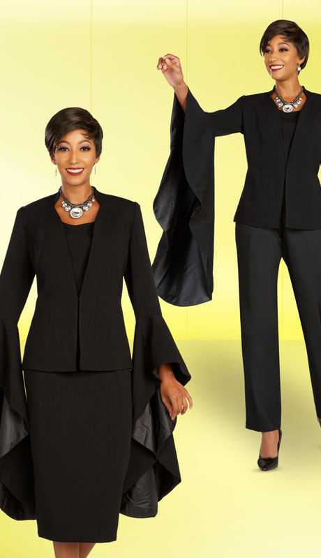 Ben Marc Executive 11898-BK ( 4pc Womens Church And Career Wardrober With Showpiece Bell Sleeves )