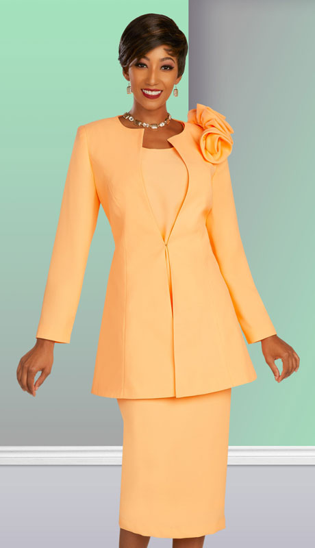 Ben Marc Executive 11876-ME ( 3pc Womens Church And Career Skirt Suit With Long  Jacket And Floral Trim )