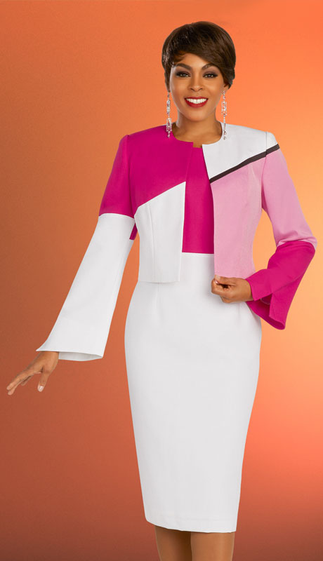 Ben Marc Executive 11870-PM ( 2pc Womens Church And Career Dress With Short Jacket And Color Block Design )