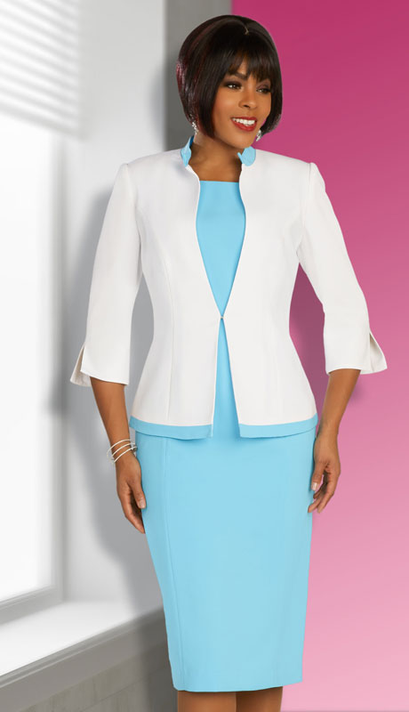 Ben Marc Executive 11869-BW ( 2pc Womens Church And Career Dress With 3/4 Sleeve Jacket And Contrast Trim )