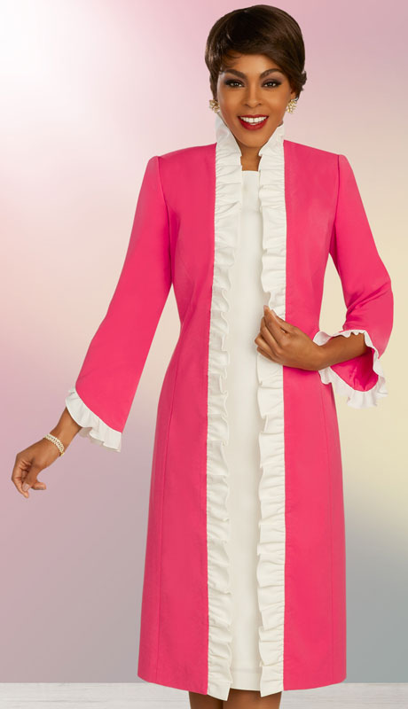 Ben Marc Executive 11866-C ( 2pc Womens Church And Career Dress With Duster Jacket And Ruffle Trim )