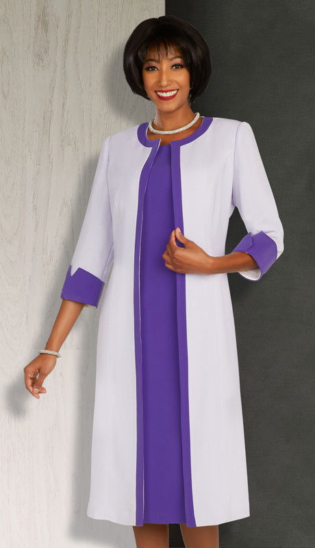 Ben Marc Executive 11865-PW ( 2pc Womens Church And Career Dress With Duster Jacket And Contrast Trim )