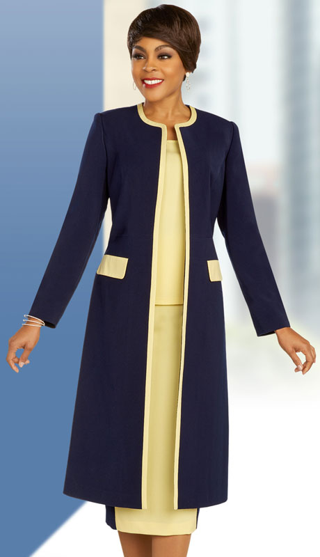 Ben Marc Executive 11864-NY ( 3pc Womens Church And Career Skirt Suit With Duster Jacket And Contrast Trim )