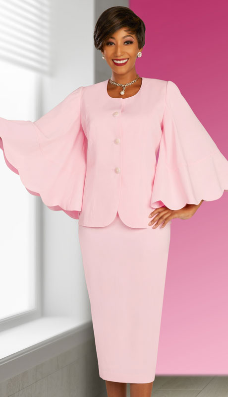 Ben Marc Executive 11863-PI ( 2pc Womens Church And Career Skirt Suit With Tulip Bell Sleeves )