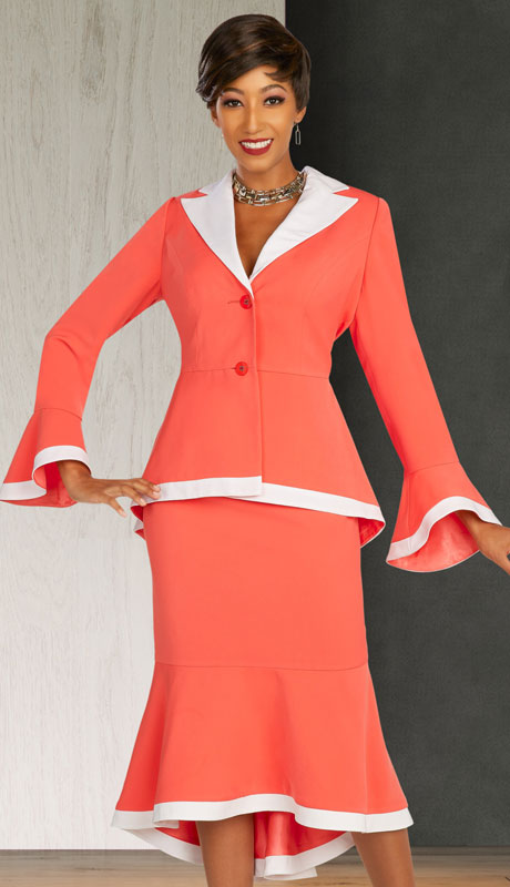 Ben Marc Executive 11862-CO ( 2pc Womens Church And Career Skirt Suit With Contrast Trim )