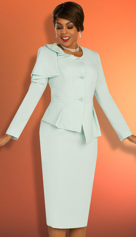 Ben Marc Executive 11861-MI ( 2pc Womens Church And Career Skirt Suit With Asymmetrical Jacket )