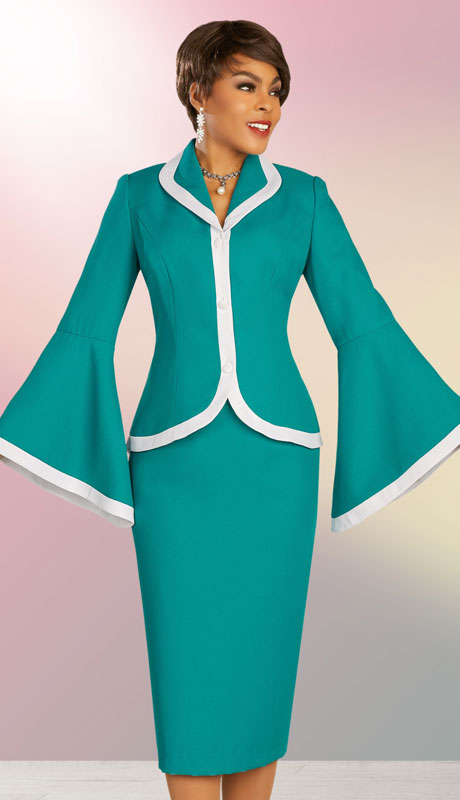 Ben Marc Executive 11860-JW ( 2pc Womens Church And Career Skirt Suit With Flared Sleeves )