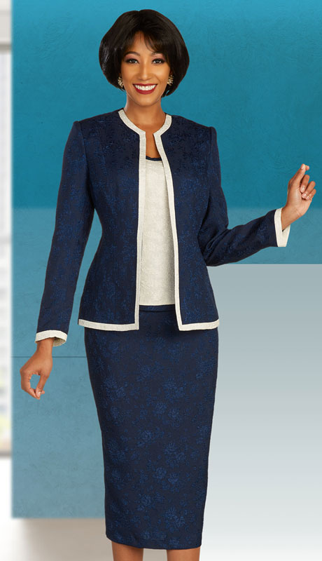Ben Marc Executive 11858-NO ( 3pc Womens Church And Career Skirt Suit With Contrast Trim )