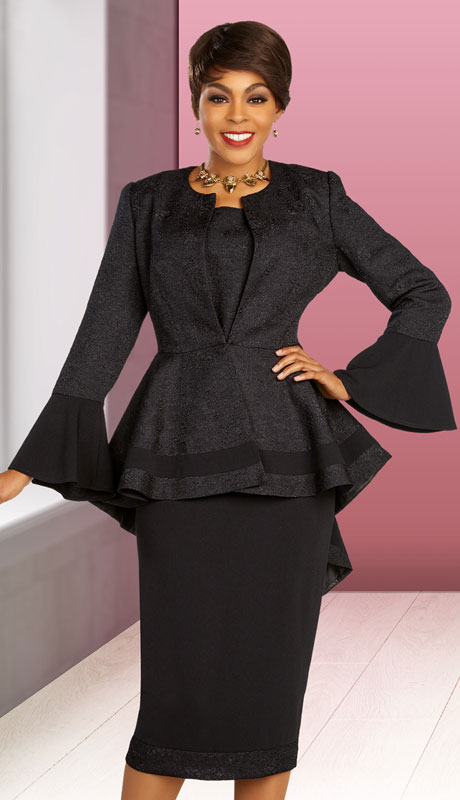Ben Marc Executive 11853-BK ( 3pc Womens Church And Career Skirt Suit With Peplum High-Low Jacket )