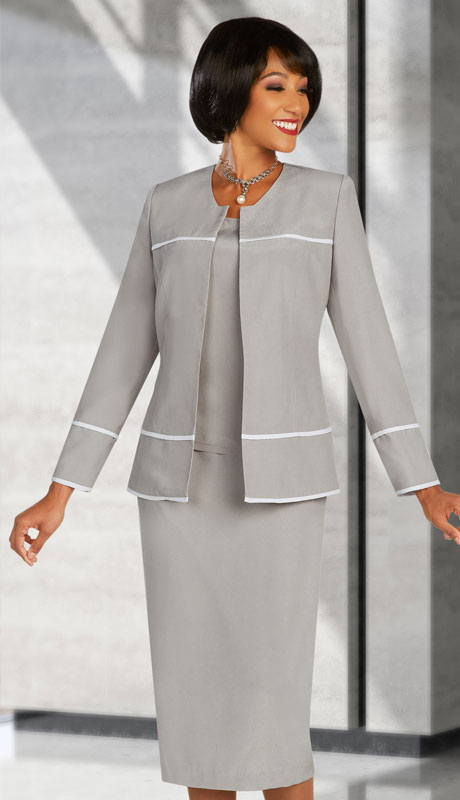 Ben Marc Executive 11894-PW ( 3pc Womens Church And Career Skirt Suit With Contrast Trim )