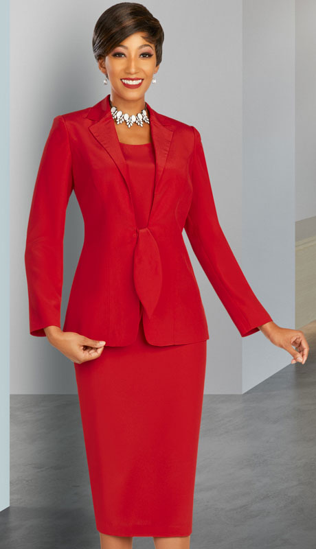 Ben Marc Executive 11893-RE ( 3pc Womens Church And Career Suit With Tie Front And Notched Lapels )
