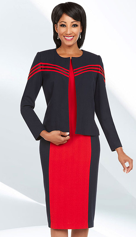 Ben Marc Executive 11584 ( 2pc Womens Church And Career Suit With Zipper Front Jacket And Skirt )