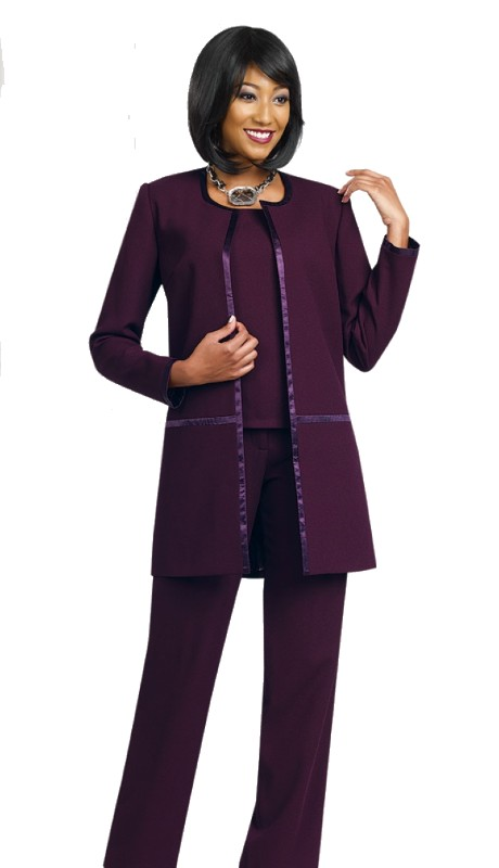 Ben Marc Executive 11479 ( 3pc Satin Trim Pant Suit )