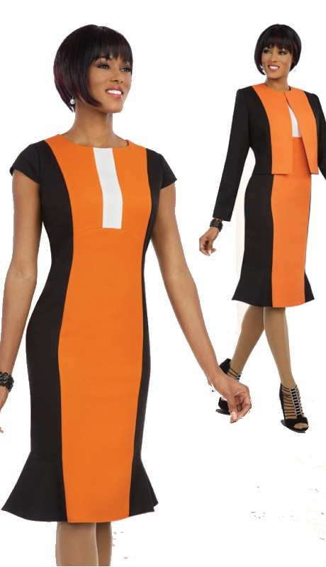 Ben Marc Executive 11594 ( 2pc Ladies Church And Career Dress With Jacket In Color Block Pattern )
