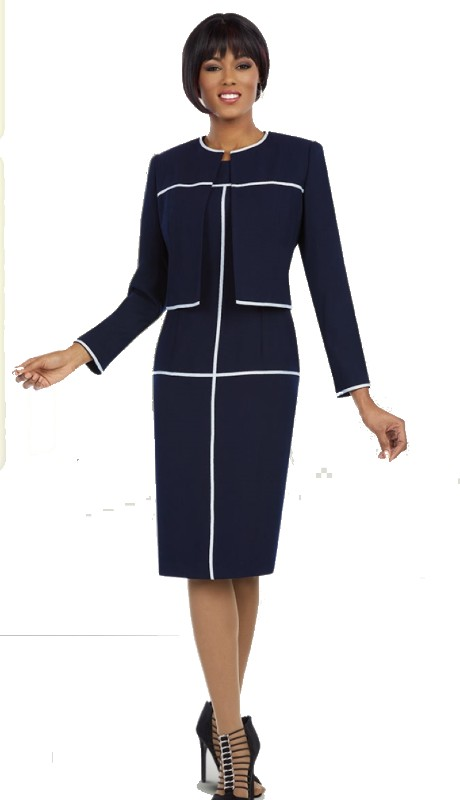 Ben Marc Executive 11596 ( 2pc Ladies Church And Career Dress With Contrast Piping And Matching Jacket )