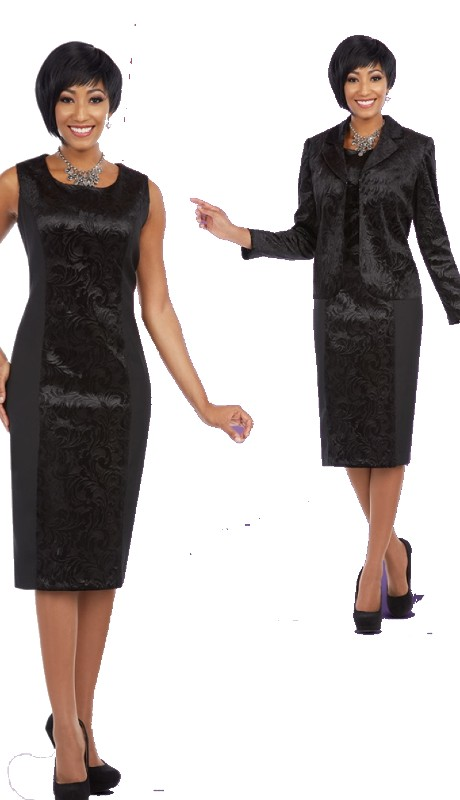 Ben Marc Executive 11599 ( 2pc Ladies Church And Career Dress With Damask Brocade Jacket )
