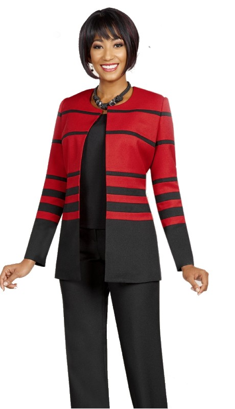 Ben Marc Executive 11615 ( 2pc Womens Careere Suit With Stripe Jacket, Solid Cami And Pant )